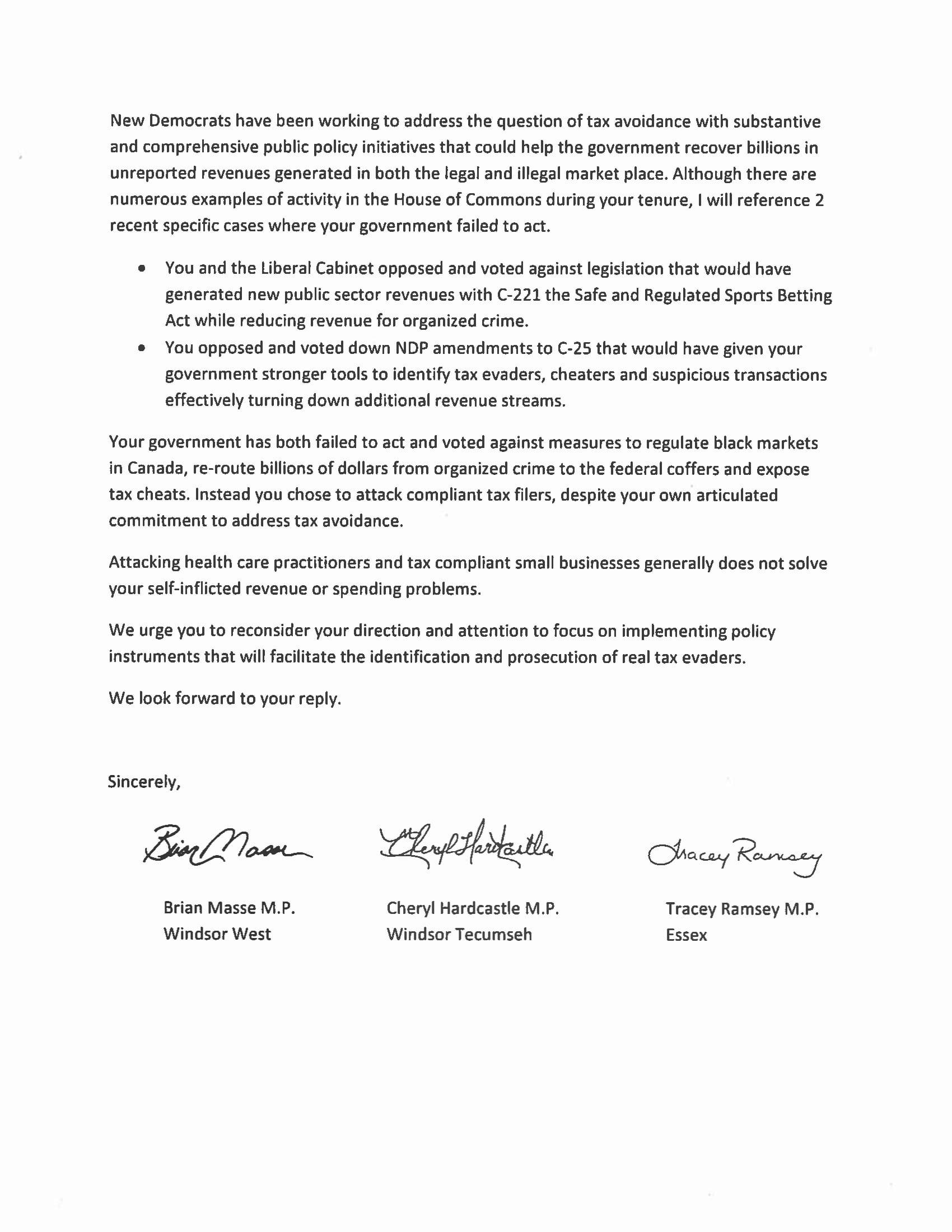 070917 Joint Letter Masse Hardcastle Ramsey to Min Morneau on Sm Biz Tax Changes-2